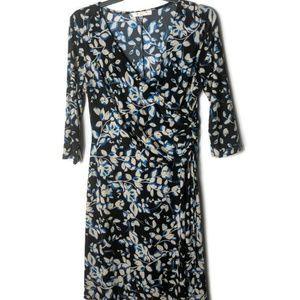 Evan Picone Faux Wrap Black Printed Dress